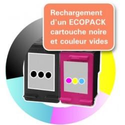 RECHARGEMENT ECOPACK 2 CARTOUCHES D'ENCRE noire + tricolor Type HP 302xl